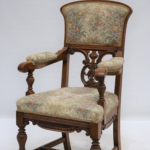 Carved Oak Armchair with Original Upholstery