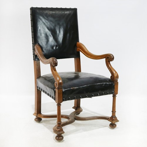 Black Faux Leather Oak Armchair