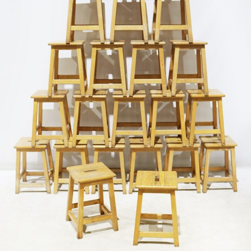 A Set of 22 Ex-School / Lab Stools