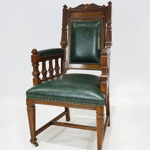 Carver Chair Reupholstered in Green Leather