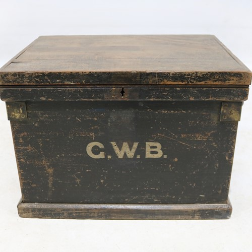 Early 20th Century Painted Pine Tool Box