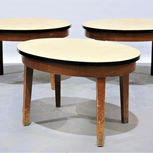Three Oval Formica Topped Coffee Tables