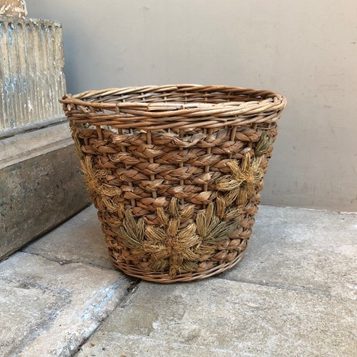 Early 20thC Woven Floral Front WP Basket