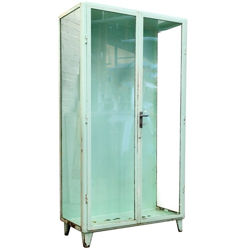 Mid-century industrial steel vitrine glass display