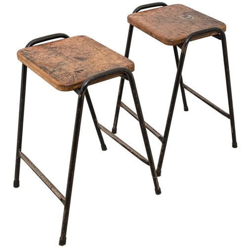 Teak topped stacking stools