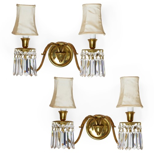 Brass wall light sconces with shades