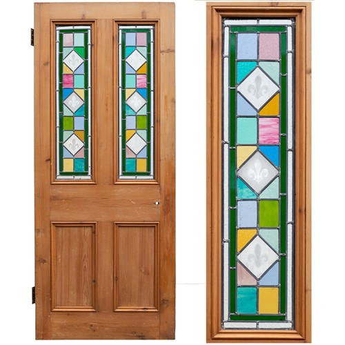 Antique Pine Stained Glass Door