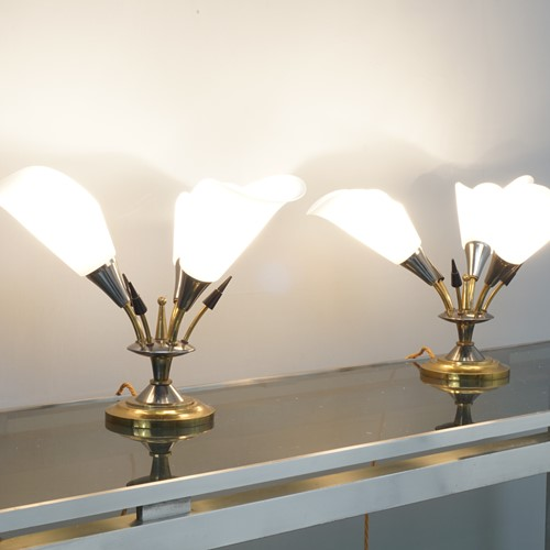 Lovely pair of Mid Century three arm Table lamps