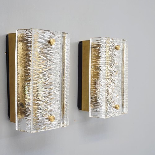 Pair of mid century textured glass wall lights
