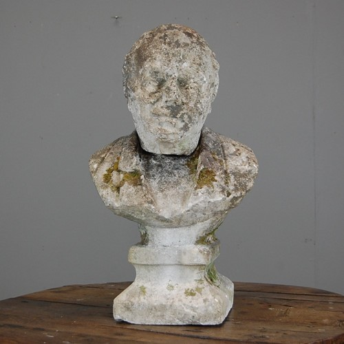 Weathered Carved Stone Bust