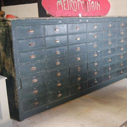 Huge Bank of Painted Oak Drawers