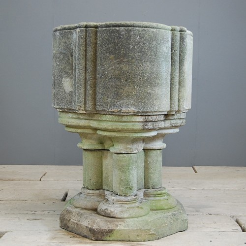 19th Century Carved Stone Baptism Font