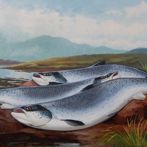 Oil on Canvas Salmon on the Beat By J B Russell