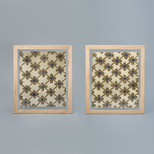Pair of French Canvas Wallpaper Fragments
