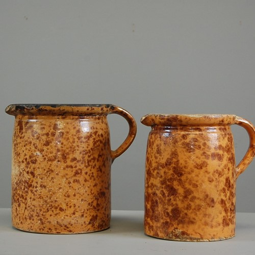 Pair Early Slipware Jugs