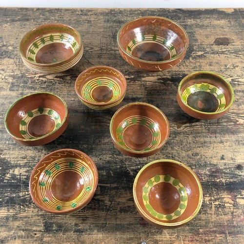 Primitive Rustic Hand Painted Pottery Bowls C1890