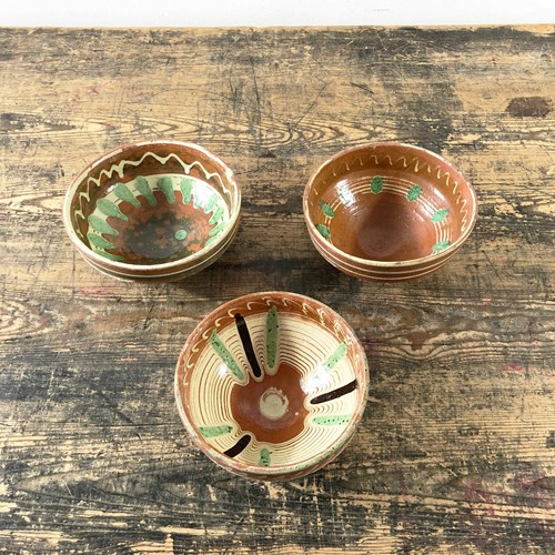 Rustic Hand Painted Combed Glazed Clay Bowl