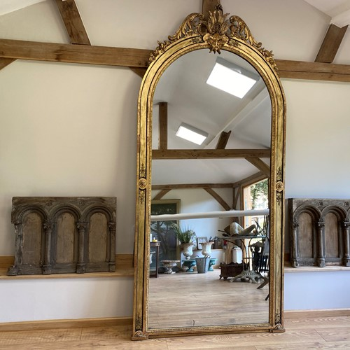 Magnificent Arched Gothic Gilt Early 19th C Mirror