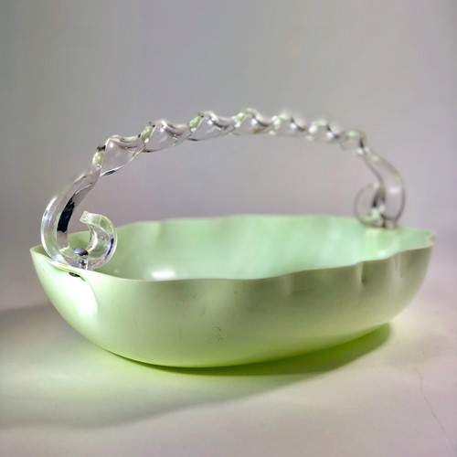 Art Deco lucite barley twisted handle fruit basket