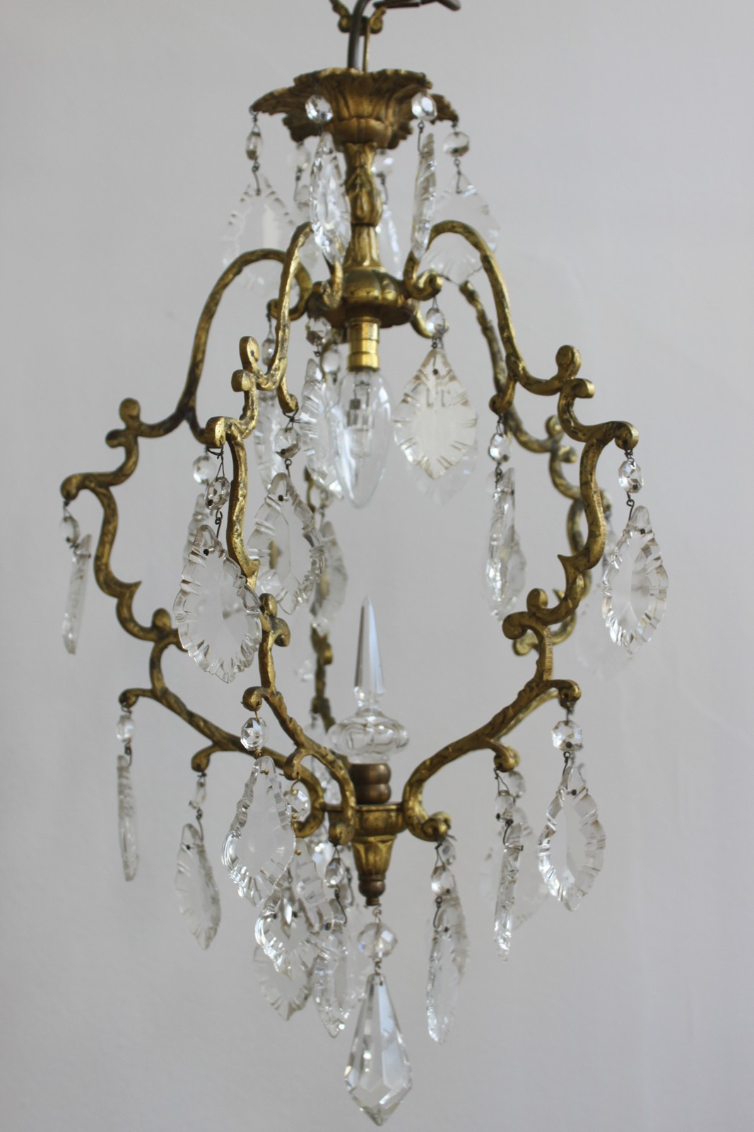Small French brass birdcage chandelier The Hoarde – Small Vintage Chandelier