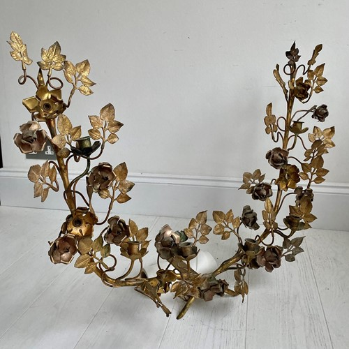 Decorative floral tole light/sculpture