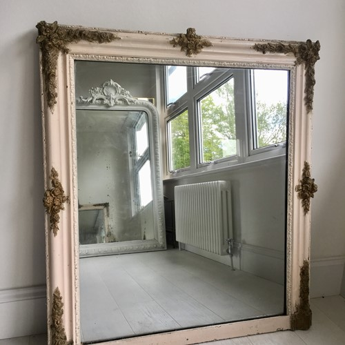 Antique French painted/gilt square mirror