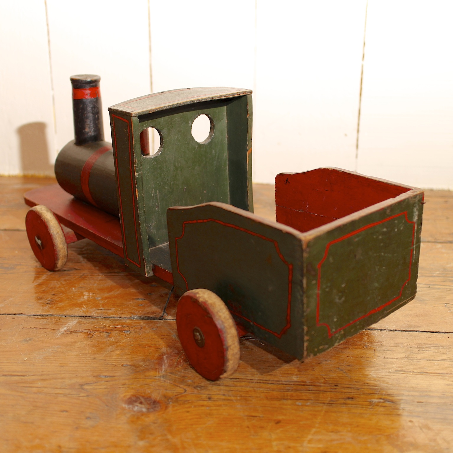Vintage Painted Wooden English Toy Train The Hoarde