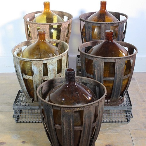 French Bottles in Metal Crates