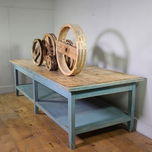 Blue 3 Metre Wooden Table