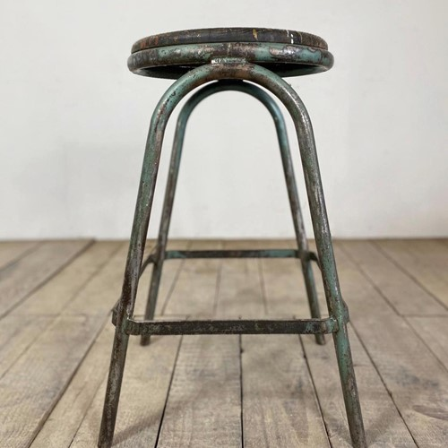 Vintage Industrial French Original Painted Stool