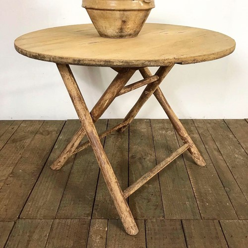 Antique French Farmhouse Round Folding Table