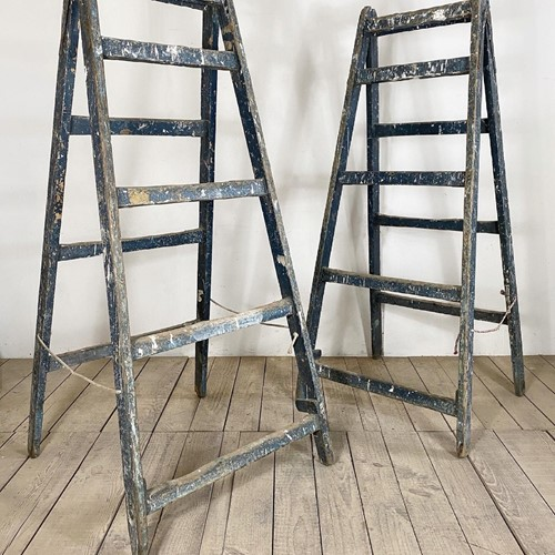 Pair Of Original Painted Shop Display Ladders