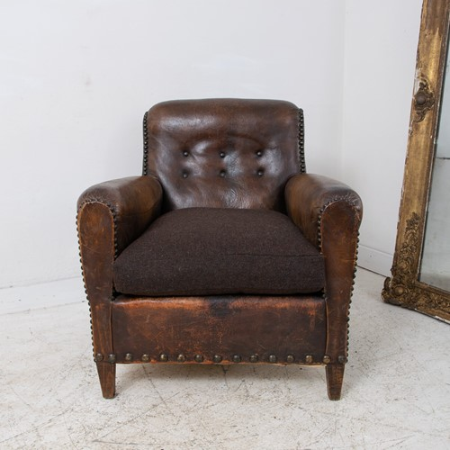 Button Back French Leather Club ArmChair