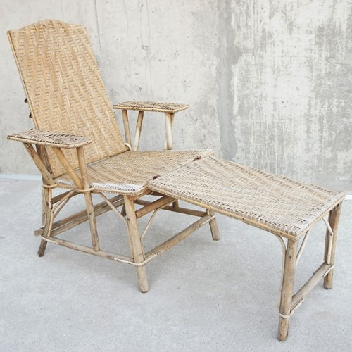 Reclining Wicker Chair with Detachable Ottoman