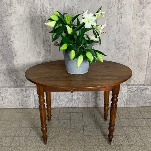 Walnut Wood Oval Drop Leaf Bistro Side Table