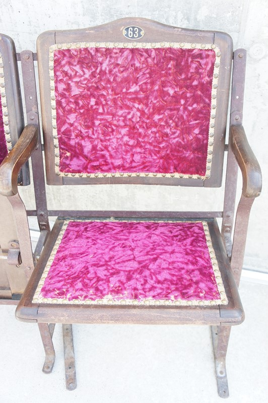 19th Century Velvet Metal and Wooden Cinema Seats-vintage-french-vintage-french-etsy-boho-banque-3-early-wood-metal-velvet-cinema-seats2-main-636922115727506874.JPG