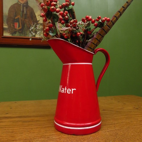 Red Enamel Hot Water Jug