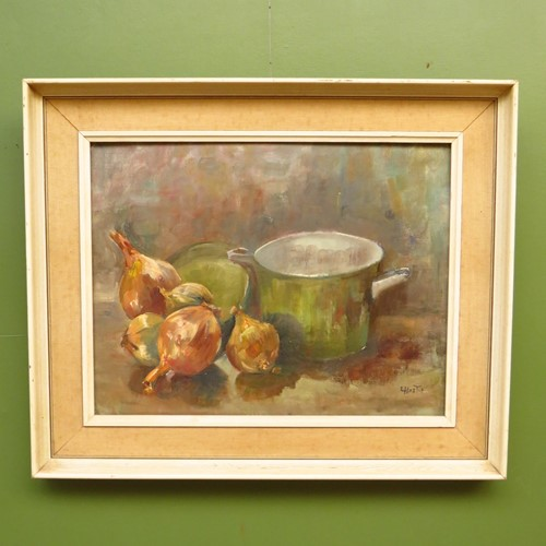 Vintage oil on board painting of onions in kitchen