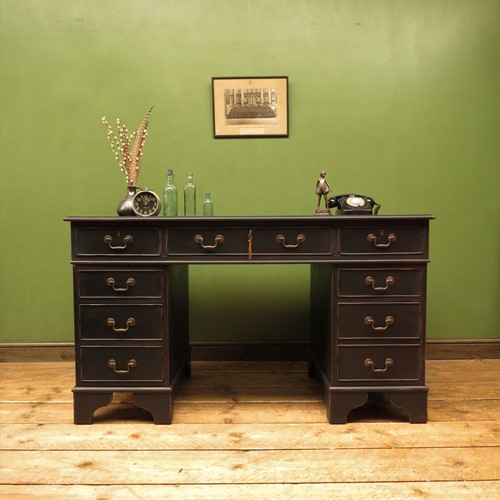 Gothic black painted antique style pedestal desk