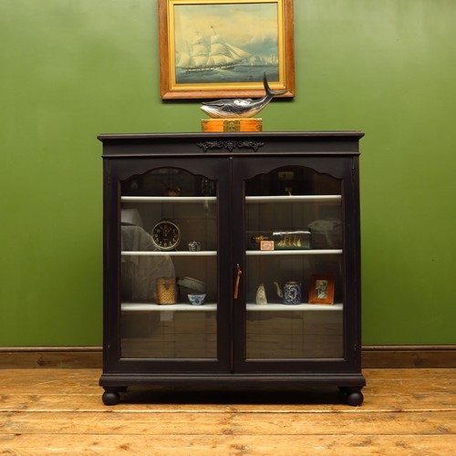 Painted black display cabinet bookcase