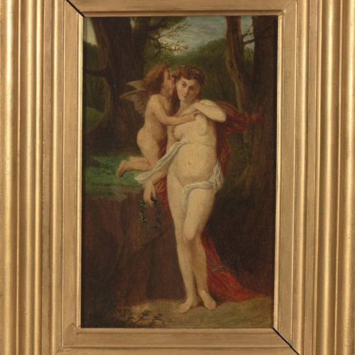 19th C French School, Cupid & Psyche, Oil on panel