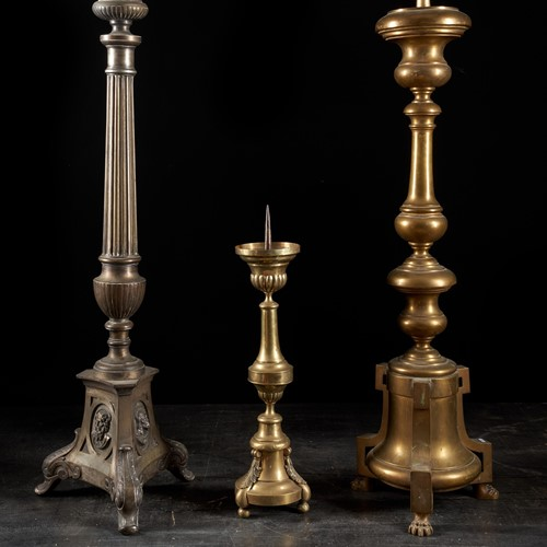 Selection of three 19th C.Brass Candleholders