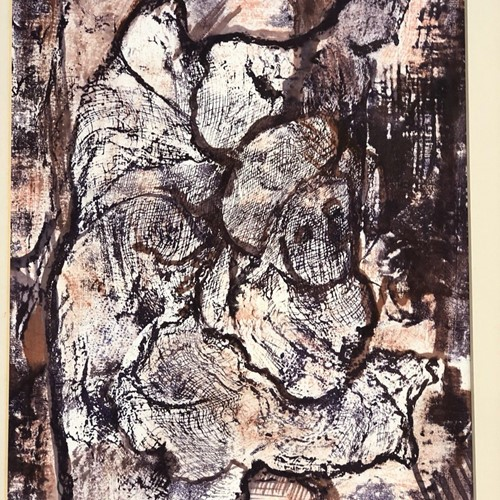 "Vintage monoprint by Dorothy Hamer "" God cares"""