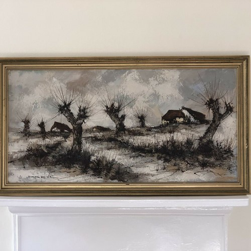 Dorval Mid Century Oil Painting .