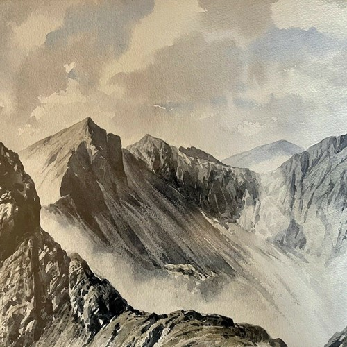 Original Watercolour J Ingham Riley Mountain Scene