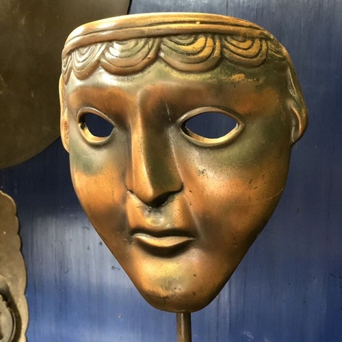 19th Century bronze Greek tragedy mask
